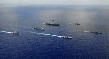 Ships from the John C. Stennis Carrier Strike Group are underway in the western Pacific Ocean. Petty Officer 3rd Class Walter W