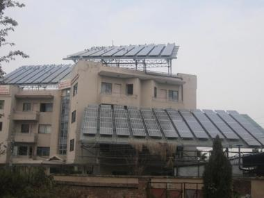 Solar panels on the roof of the offices of the Alternative Energy Promotion Centre in Kathmandu (Photo by Deepak Adhikari)