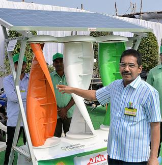 Hybrid renewable power generation using solar panels and wind turbines. Photo: C.V. Subrahmanyam