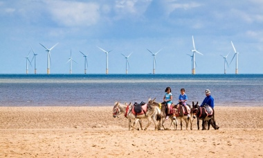 Offshore wind turbines off Skegness in Lincolnshire, UK. Photograph: Alamy