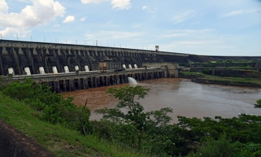 The Itaipu hydroelectric dam on the Parana River, Brazil border. Most hydro-plants are in regions forecast to see water shortages. Photograph: Norberto Duarte / AFP / Getty Images