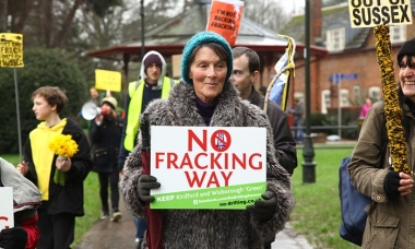 An anti-fracking march in Sussex. Photograph: Natasha Quarmby / REX / Shutterstock