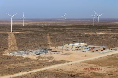 Duke Energy said it will upgrade the battery storage system at its Notrees wind farm in West Texas. Duke Energy photo.