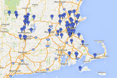 A Mass. Department of Energy Resources map shows some of the 57 communities and school districts that have taken action on energy through an Energy Management Services contract.