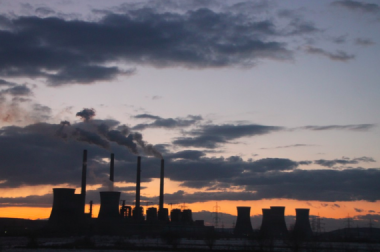 Coal Fired Power Plant at Sunset