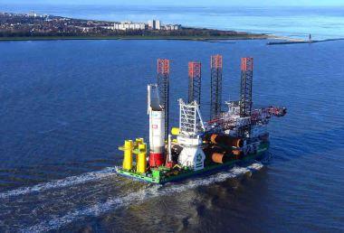 First monopile headed for Nordsee One offshore wind farm (RWE Image)
