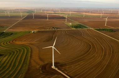 More companies are relying on wind farms, such as these near Sweetwater and Abilene, Texas, for their electricity.