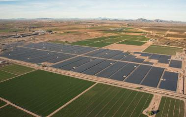 Sandstone Solar has more than 182,000 JinkoSolar PV modules mounted on ATI's trackers. Image: Salt River Project