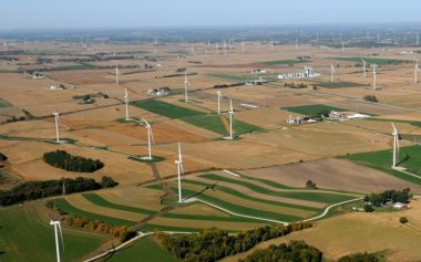 The Glacier Hills Wind Park in Columbia County, the last wind farm built in Wisconsin. Photo credit: We Energies.