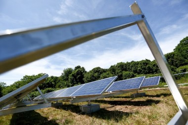 A solar array installed at the Tisbury landfill. – File photo by Michael Cummo