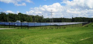 Jacobstown Solar Field in North Hanover Township, New Jersey. Photo by Mr. Matté. GNU Free Documentation License. Wikimedia Commons.