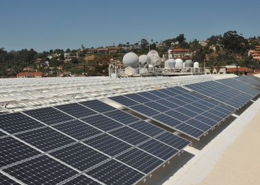 Solar panels on the roof of Space and Naval Warfare Systems Command Headquarters, San Diego. US Navy photo by Rick Naystatt. Public Domain. Wikimedia Commons.