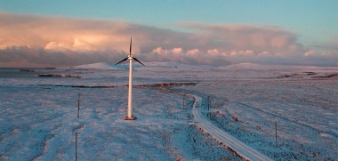 Wind turbine in Toksook Bay, Alaska. Photo by energy.gov. Public domain. Wikimedia Commons.