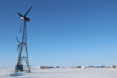 Kwigillingok has five wind turbines, four of which are currently working. (Photo by Rachel Waldholz/APRN)