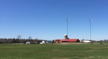 Two windmills stand above a farm in Sheldon. VBM photo.
