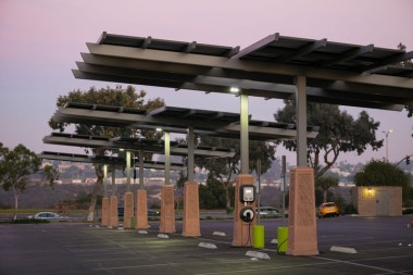 A solar-powered electric vehicle charging station. Photo by Joshua Rainey / 123RF