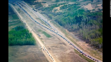 Traffic at a standstill as evacuees flee Fort McMurray, May 4.