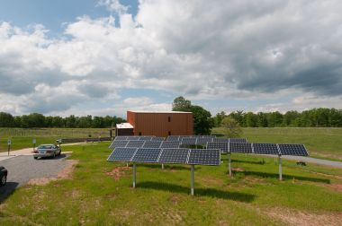 Solar array at Cooper Vineyards in Louisa, VA. USDA photo. Public domain. Wikimedia Commons.