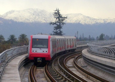 Santiago Metro train. Image placed in the public domain by its author, Fevarasv. Wikimedia Commons.