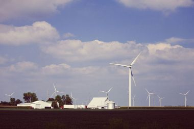 Wind turbines in Indiana. Photo by Mattchobbs, released to the public domain. Wikimedia Commons.