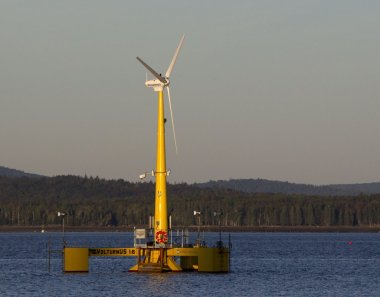 The prototype Volturn US generates power off Castine in 2013. Bukaty / 2013 Associated Press file.
