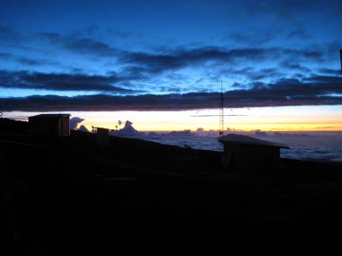 Night falls at the Mauna Loa Observatory. Photo by LCDR Eric Johnson, NOAA Corps. Public Domain. Wikimedia Commons.