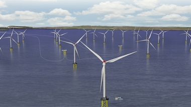 An artist's impression of the Beatrice Offshore Wind Farm. Image: SSE