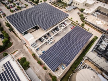 Aerial view of the solar rooftop at Strictly Pediatrics Surgical Center.