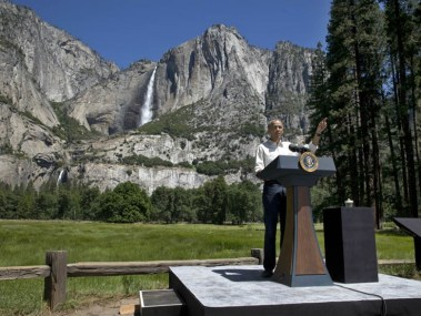 President Barack Obama speaks in front of the Yosemite Falls. Jacquelyn Martin / AP Photo
