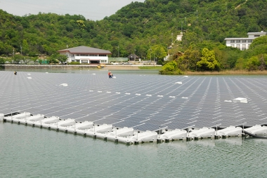 A 2.3-MW floating solar array in Kasai City, Japan.
