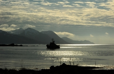US Fish and Wildlife Service research vessel, the R/V Tiglax, stops at Attu Island, the most western of the Aleutian Islands. (Bob Hallinen / Alaska Dispatch News)
