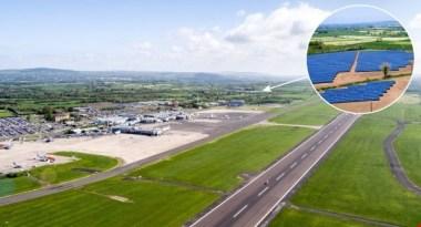 Belfast International Airport and, inset, Crookedstone Solar Farm