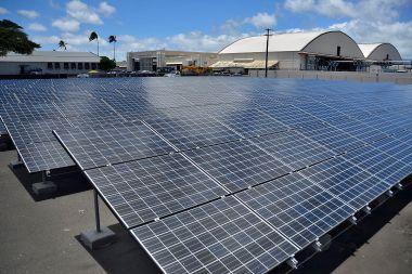 Solar power at Joint Base Pearl Harbor-Hickam. Photo byMC2 Daniel Barker/U.S. Navy. Public domain. Wikimedia Commons.