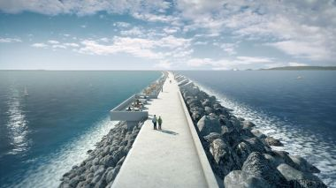 An artist's impression of the Swansea Bay tidal lagoon project . Source: Tidal Lagoon Power