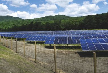 The Stowe Electric Department's solar array stands at a reclaimed gravel pit.