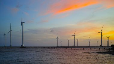 Offshore wind farm. Photo by Tycho. CC BY-SA 3.0. Wikimedia Commons.
