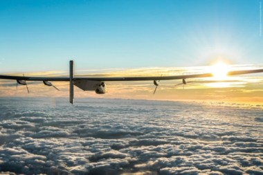 Solar Impulse 2 above the clouds.