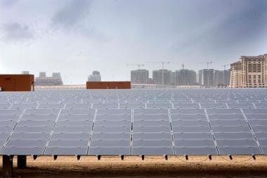 10-MW Solar PV Power Plant in Masdar City, Abu Dhabi, where solar is already the lowest cost form of electricity generation. Photo: Masdar Official via Flockr (CC BY-NC-SA).