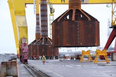 Mono Buckets awaiting installation for the Dogger Bank wind farm in the North Sea off Yorkshire, England. Photo: Universal Foundation.