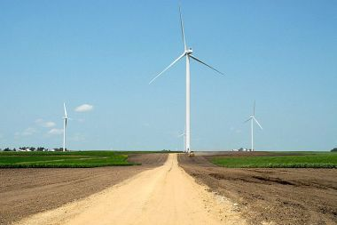 Alliant Energy leases land from farmers for its 200-MW Whispering Willow Wind Farm. Alliant Energy photo.