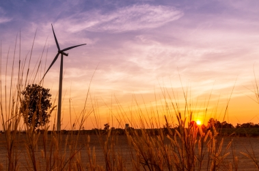 Wind turbines power generator on sunset at farmer field