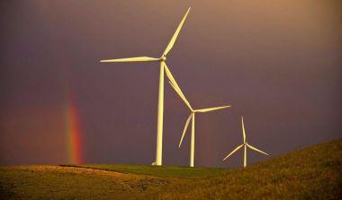 Wind turbines. The Associated Press.