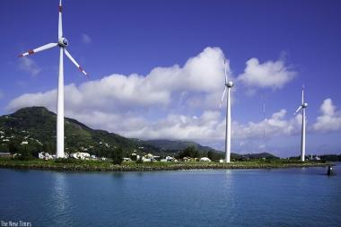 Wind turbines in Mahe, Seychelles. / Internet photo.