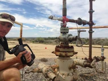 Looking at methane emitters. Photo by Jonathan Romeo / Durango Herald.