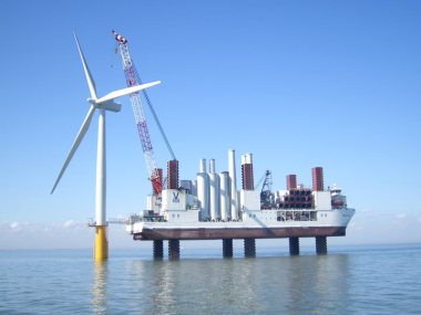 Installation of a new 3-MW Siemens offshore wind turbine. Image: artist's impression by Siemens.