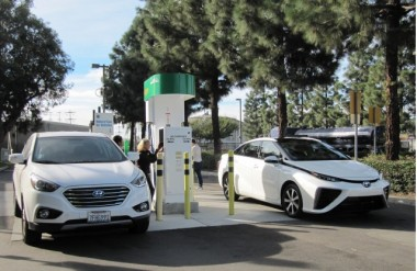 Toyota Mirai hydrogen fuel cell car, Fountain Valley, California.