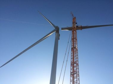 First V126-3.3 MW turbine raised in North America