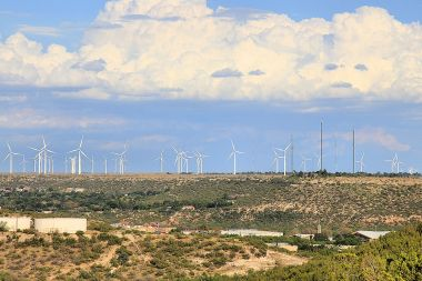 Part of the Panther Creek Wind Farm in Howard County, Texas. Photo by Larry D. Moore. CC BY-SA 3.0. Wikimedia Commons.