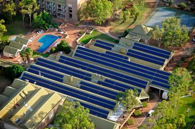 Solar array in Alice Springs. Aerial Photo Volataic Installation.