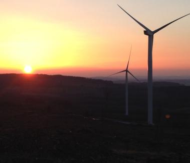 Turbine at sunset.